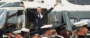 Nixon leaving on helicopter